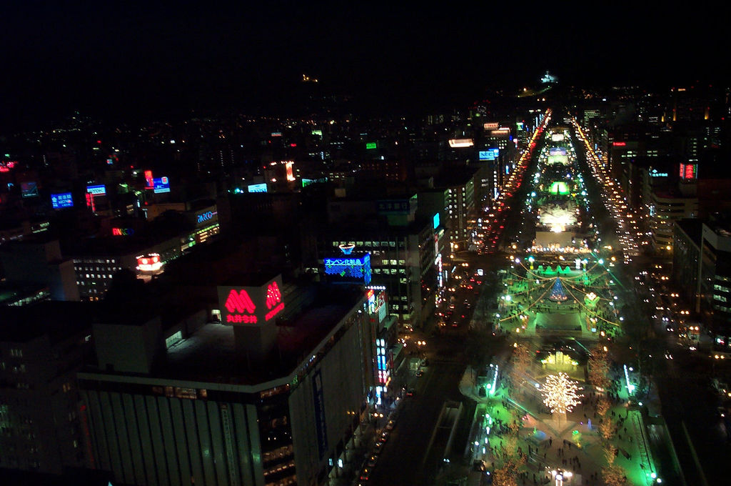 Sapporo Snow Festival at Night