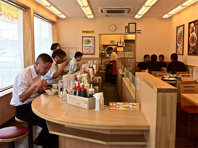 Japanese fast food girls on counter